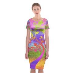 Tree Colorful Mystical Autumn Classic Short Sleeve Midi Dress