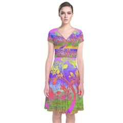 Tree Colorful Mystical Autumn Short Sleeve Front Wrap Dress
