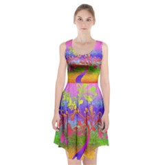 Tree Colorful Mystical Autumn Racerback Midi Dress