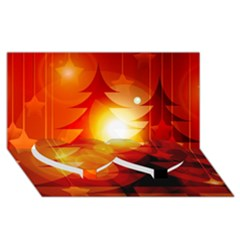 Tree Trees Silhouettes Silhouette Twin Heart Bottom 3D Greeting Card (8x4)
