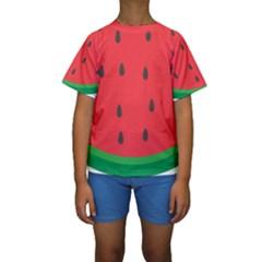 Watermelon Fruit Kids  Short Sleeve Swimwear
