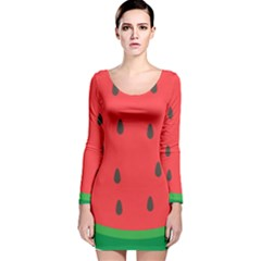 Watermelon Fruit Long Sleeve Velvet Bodycon Dress