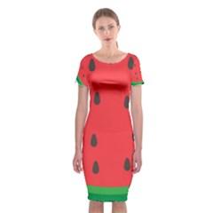 Watermelon Fruit Classic Short Sleeve Midi Dress