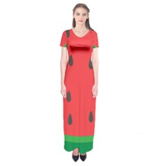 Watermelon Fruit Short Sleeve Maxi Dress