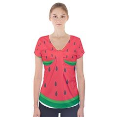Watermelon Fruit Short Sleeve Front Detail Top