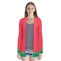 Watermelon Fruit Drape Collar Cardigan