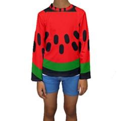 Watermelon Melon Seeds Produce Kids  Long Sleeve Swimwear