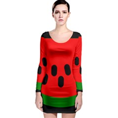 Watermelon Melon Seeds Produce Long Sleeve Bodycon Dress