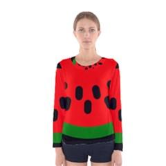 Watermelon Melon Seeds Produce Women s Long Sleeve Tee