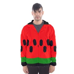 Watermelon Melon Seeds Produce Hooded Wind Breaker (Men)