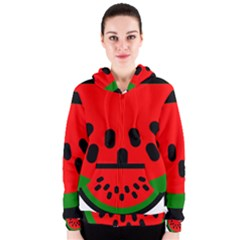 Watermelon Melon Seeds Produce Women s Zipper Hoodie