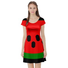 Watermelon Melon Seeds Produce Short Sleeve Skater Dress