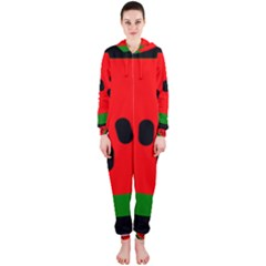 Watermelon Melon Seeds Produce Hooded Jumpsuit (Ladies)
