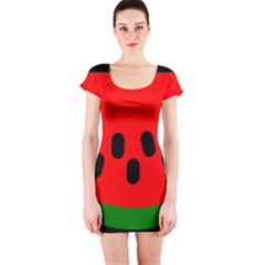 Watermelon Melon Seeds Produce Short Sleeve Bodycon Dress