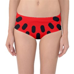 Watermelon Melon Seeds Produce Mid-Waist Bikini Bottoms