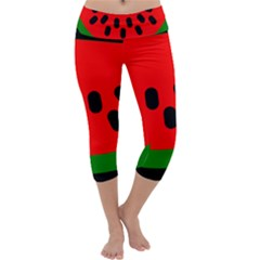 Watermelon Melon Seeds Produce Capri Yoga Leggings