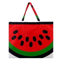 Watermelon Melon Seeds Produce Zipper Large Tote Bag