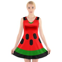 Watermelon Melon Seeds Produce V-Neck Sleeveless Skater Dress