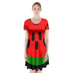 Watermelon Melon Seeds Produce Short Sleeve V-neck Flare Dress