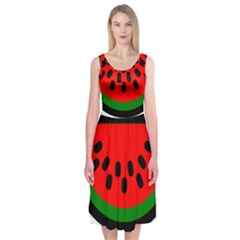 Watermelon Melon Seeds Produce Midi Sleeveless Dress