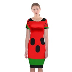 Watermelon Melon Seeds Produce Classic Short Sleeve Midi Dress
