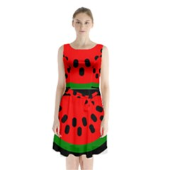 Watermelon Melon Seeds Produce Sleeveless Chiffon Waist Tie Dress