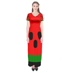 Watermelon Melon Seeds Produce Short Sleeve Maxi Dress