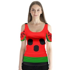 Watermelon Melon Seeds Produce Butterfly Sleeve Cutout Tee