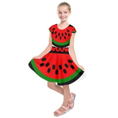 Watermelon Melon Seeds Produce Kids  Short Sleeve Dress