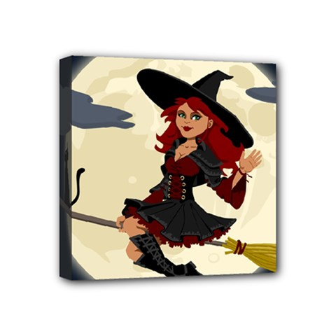 Witch Witchcraft Broomstick Broom Mini Canvas 4  x 4