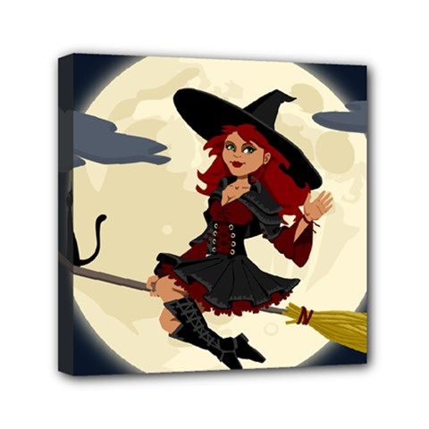 Witch Witchcraft Broomstick Broom Mini Canvas 6  x 6