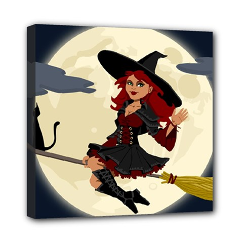 Witch Witchcraft Broomstick Broom Mini Canvas 8  x 8