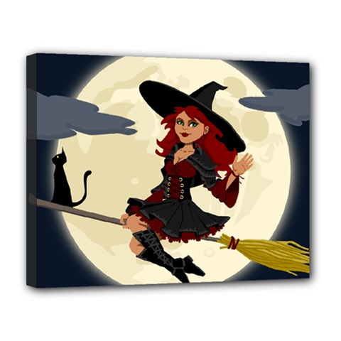 Witch Witchcraft Broomstick Broom Canvas 14  x 11