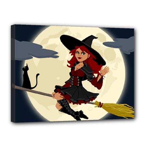 Witch Witchcraft Broomstick Broom Canvas 16  x 12