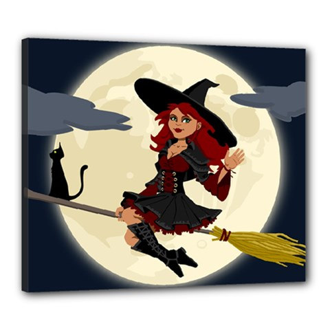 Witch Witchcraft Broomstick Broom Canvas 24  x 20