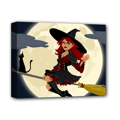 Witch Witchcraft Broomstick Broom Deluxe Canvas 14  x 11