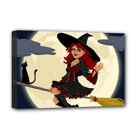 Witch Witchcraft Broomstick Broom Deluxe Canvas 18  x 12