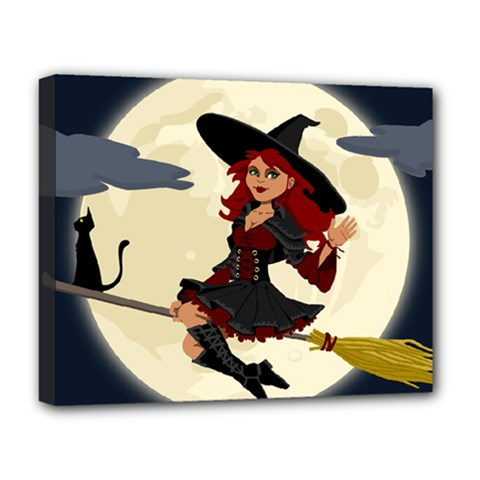 Witch Witchcraft Broomstick Broom Deluxe Canvas 20  x 16