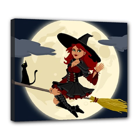 Witch Witchcraft Broomstick Broom Deluxe Canvas 24  x 20
