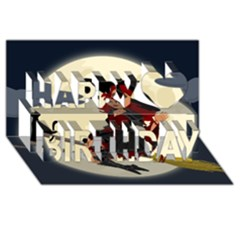 Witch Witchcraft Broomstick Broom Happy Birthday 3D Greeting Card (8x4)