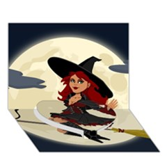 Witch Witchcraft Broomstick Broom Heart Bottom 3D Greeting Card (7x5)