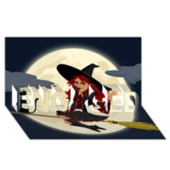 Witch Witchcraft Broomstick Broom ENGAGED 3D Greeting Card (8x4)