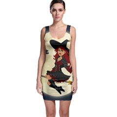 Witch Witchcraft Broomstick Broom Sleeveless Bodycon Dress