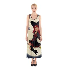 Witch Witchcraft Broomstick Broom Sleeveless Maxi Dress