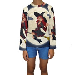 Witch Witchcraft Broomstick Broom Kids  Long Sleeve Swimwear