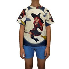 Witch Witchcraft Broomstick Broom Kids  Short Sleeve Swimwear