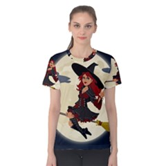 Witch Witchcraft Broomstick Broom Women s Cotton Tee