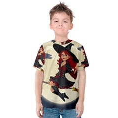 Witch Witchcraft Broomstick Broom Kids  Cotton Tee