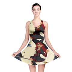 Witch Witchcraft Broomstick Broom Reversible Skater Dress
