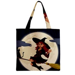 Witch Witchcraft Broomstick Broom Zipper Grocery Tote Bag